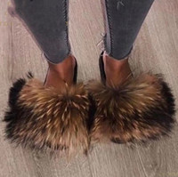 Hottest real Fur Slides Summer Beach Fluffy Slippers 100% real Raccoon Fur Flip Flops Sandálias Shoes Atacado