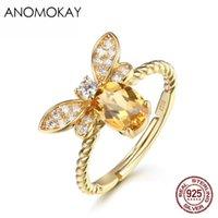 Anomokay Romantische Trendy Gelb CZ Bee-Goldfarben-Ringe für Partei Jahrestag reale 925 Sterlingsilber für Frauen-Mädchen-Geschenk