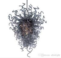 CE UL 인증서 블로운 회색 샹들리에 골동품 무라노 유리 체인 샹들리에 호텔 장식