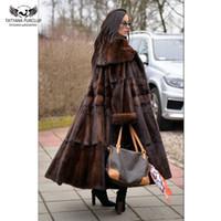 Kış ile Tatyana Furclub 2019 Moda Bayan Uzun Yaka Turn-aşağı Coat Doğal Ceket Hakiki Deri Palto Isınma