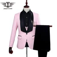 Plyesxale Rosso Bianco Rosa vestito degli uomini 2018 Uomo Slim Fit collo a scialle abiti per sposa del jacquard di modo 3 pezzi da Prom Q134