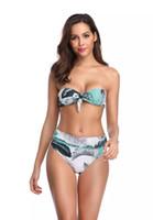 2019 modelos de explosión traje de baño bikini imprimir nuevo vendaje alta cintura superior del tubo atractivo bikini de una sola pieza traje de baño