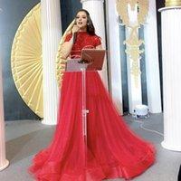 이브닝 드레스 2020 부르고뉴 스팽글 레이스 Tulle Yousef Aljasmi Labourjoisie 두바이 공식 가운 파티 드레스 핀 짧은 소매