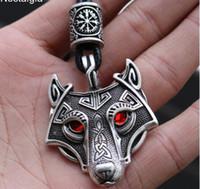 أسود أحمر عيون الذئب تميمة قلادة الشمال الخرز Vegvisir Valknut الثالوث عقدة فايكنغ قلادة ذكر أنثى تاليسمان يكا مجوهرات