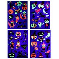 Fiesta de Halloween etiqueta engomada del tatuaje fluorescente tatuaje temporal respetuoso del medio ambiente Niños calabaza dibujos animados de animales Decoración HHA811