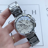 Hohe Qualität für Männer Top-Mode-Uhr-Edelstahl-Band Stoppuhr All Hilfszifferblätter Arbeit Quarzuhr für Männer bestes Geschenk 2020