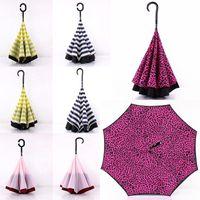 레오파드 스트라이프 거꾸로 된 우산 C 핸들 밖으로 더블 레이어 방풍 비치 뒤쪽 접는 맑은 비오는 우산 WX9-236