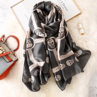 Designer morbido Scheletro Skull Seta Sciarpa Donna Punk Style Sciarpe Lunghe Scialle Scialle Ladies Brand Pashmina Hijab Foulard 180 cm