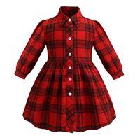 2019 yeni Çocuk ekose elbise kız yaka uzun kollu gömlek elbise çocuk giyim çocuk kırmızı tek göğüslü rahat kafes elbise A01435