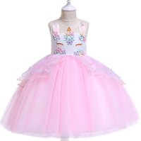 INS Kids unicorn dress girls beaded colorful flowers party d...