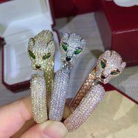 مجوهرات الساخنة الكلاسيكية العلامة التجارية حزب الأزياء للحصول على سوار المرأة لون الذهب كاملة حجر النمر سوار النمر سوار حفل زفاف