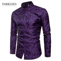 남성용 실크 새틴 웨딩 드레스 셔츠 2019 세련된 불규칙한 프린트 턱시도 셔츠 남성 캐주얼 긴 소매 슬림핏 Camisa Masculina