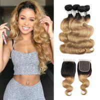 Ombre Hair Bundles With Closure 1B 27 Honey Blonde Brazilian...