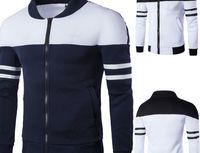 Homens Outdoor Casual Jacket Zipped Top Moda Outono Outono Inverno Sportswear Retalhos Casaco de Manga Longa Casaco Grande Tamanho Grande 2018