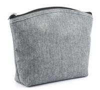 1 adet 22 (L) x6 (D) x17 (H) cm zip ile su geçirmez makyaj çantası açık gri / mavi / haki dayanıklı oxford su geçirmez kozmetik çantası boş seyahat tuvalet çantası
