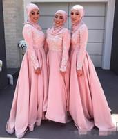 Blush Pink 2020 мусульманская платья невесты Crew с длинными рукавами кружева аппликация Формальные партии Вечерние платья A-линии Модест горничной честь платья