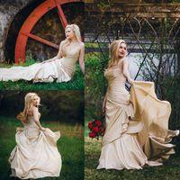 Mermaid Ruffle Jardin Robes De Mariée Long Train 2020 Vintage Corset Corset Pays Ouest Champagne Robes de mariée Plus Taille