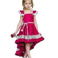 Flyga ärm vin röd klänning vintage cocktail klänningar kort framsida lång baksida mode avslappnad bomull toddler sommarklänning 18121701