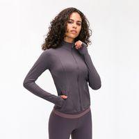 Desgaste bilateral Mujeres Ropa de deporte de la cremallera LU-98 Quick Dry Sport Outwear la chaqueta de la yoga de gimnasio profesional capa de poliéster ropa de correr
