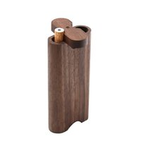 Caso de madera Dogout natural hecho a mano de cobertizo de madera con cerámica Un bateador de metal gancho de limpieza pipas de fumar tabaco portátil