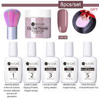 8 teile / satz Tauchen Nagel Glitter Kits Gradient Französisch Nagel Natürliche Farbe Holographisches Pigment Trocken ohne Lampe Heilung