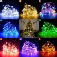 홈 크리스마스 트리 새해 2020 크리스마스 장식을위한 10M LED 화환 구리 와이어 마개를 문자열 요정 조명