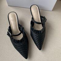 Heiße Art und Weise der neuen Frauen Stilettsandelholze Sommer hohe Absätze Partei Knöchelgurt Rock 100% Leder Frauen gewebt sandals34-42