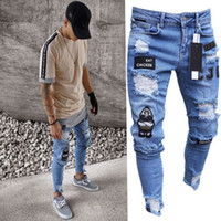 New Mens Skinny jeans Casual Biker Jeans Denim Ripped hiphop...