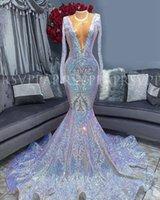실버 섹시한 V-Neck Mermaid Prom Dresses 2020 긴팔 아프리카 공식 이브닝 가운 졸업 파티 드레스