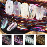Nail magic silk thread decoration colorful cool gradient gold and silver long silk thread light treatment nail decoration