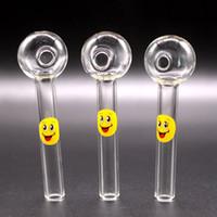 Sorriso logotipo vidro de vidro queimador de óleo colher pirex óleo queimador de vidro tubos de vidro canos de mão fumar tubos para fumar acessórios tabaco ferramenta