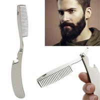 머리 빗 새로운 남성 전용 스테인레스 스틸 접는 빗 미니 포켓 빗 수염 관리 도구를 편리하고 사용 헤어 브러시를 설정