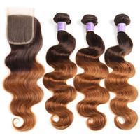 Бразильские девственницы человеческие пакеты волос с закрытием волны тела 2 тона OMMRE 4/30 пучков волна 3 пучка с 4 * 4 кружевной закрытием