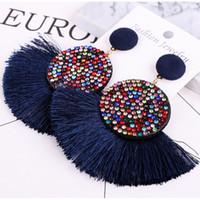 국경 폭발 액세서리 유럽과 미국 과장된 긴 다이아몬드 술 귀걸이 여성 성격 귀걸이 보석