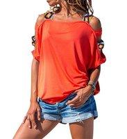 Été Femmes T-shirt T-shirt À Manches courtes Solide Couleur Coupe Sans Bretelles Femme T-shirt Trade Tendue Word Off Off Epaule Hows
