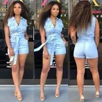New Street Fashion Woman Washed Denim Romper Hot Sexy Buttons Down Sin mangas Con cinturón Skinny Romper Plus Size Online Blue
