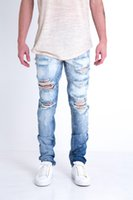 Men' s Jeans Designer Pants Snow White Blue Destroyed Zi...