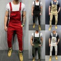 2020 Yeni Denim tulumları Delik İnce Pantolon Erkek Erkek Jeans pantolon Ayaklar Avrupa ve Amerikan Sokak Tide tulumları Streetwear INS