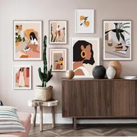 Özet Moda Vintage Kız Minimalist Wall Art Kanvas İskandinav Posterler Boyama ve Baskılar Duvar Resimleri Salon Dekorasyonu için