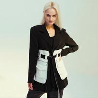 sentido película en blanco retro nostálgico bloque negro blanco contraste Maylofuer Negro y cintura longitud media Blazer con la correa