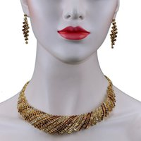 Insieme nuziale dei monili orecchini collana Wedding Chran Classic Design Brown strass per le donne