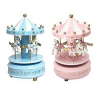 Merry-go-round houten muziek doos speelgoed kind baby spel home decor carrousel paard muziek doos kerst bruiloft verjaardagscadeau