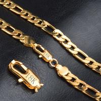 Mode 18k véritable plaqué or Figaro Chaînes Collier Bracelet pour hommes Colliers Bracelets Hommes Bijoux 8mm Grossiste