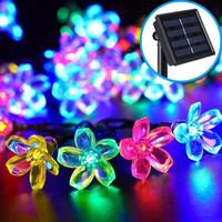 Im Freien wasserdichten LED-Solarschnur beleuchtet Kirschblüten-Blume geformt Flash-Schnur-Lichter für Weihnachten Home-Garten-Hochzeit Dekoration