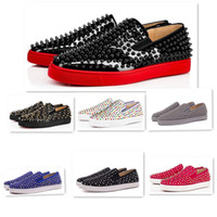 Mens Womens Casual Shoes Low prata Designer completa Spikes rolo Boat Flats Skate Loafers Design Mulher do homem sapata Red Sneakers inferior
