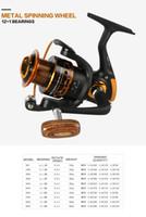 Marca Yumoshi GermanTechnology AX 12 + 1BB 5.2: 1 Rueda de pesca con mango de madera 500-9000 Carretes de spinning de pesca Aparejos de pesca de carpa