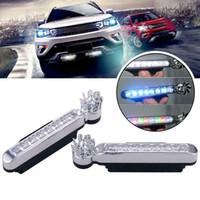 2x Energia eólica 8 LED Car Daytime Fog Lamp Running Light Car DRL Driving Day Light