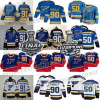 세인트 루이스 블루스 저지 2019 스탠리 컵 챔피언스 90S 빈티지 90 Ryan O'Reilly 91 블라디미르 50 Binnington 17 Schwartz Hockey Jerseys