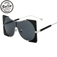 Sella New Trending Women Oversized Square Conjoined Sunglass...