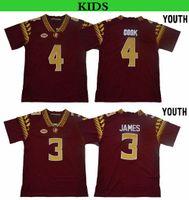 2019 청소년 플로리다 주립 세미 롤 3 Derwin James 4 Dalvin Cook Kids FSU College Football Jerseys Derwin James Dalvin Cook 스티치 셔츠